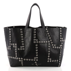 Celine Horizontal Cabas Tote Grommet Patchwork Leather Large Black 3298402