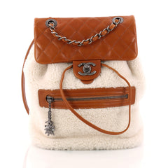 Chanel Mountain Backpack Shearling with Quilted Calfskin Small White 3299501