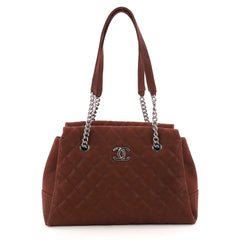 Chanel Lady Pearly Tote Quilted Iridescent Caviar Large Brown 3300501