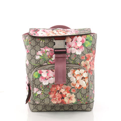 Gucci Buckle Backpack Blooms Print GG Coated Canvas Brown 3301101