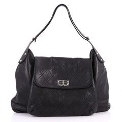 Chanel Mademoiselle Lock Flap Shoulder Bag Quilted Black 3301201