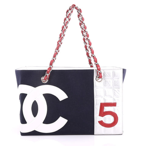 f0d592eea6d736 Buy Chanel No. 5 Tote Canvas and Leather Small Blue 3301301 – Rebag