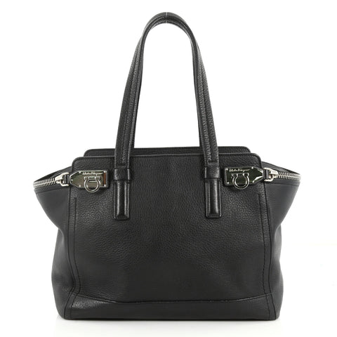 Buy Salvatore Ferragamo Verve Tote Leather Medium Black 3302101 – Rebag 886d843c171ce