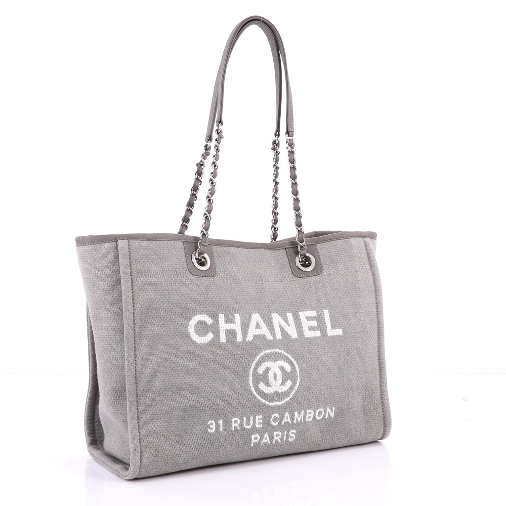 424eae30349c Buy Chanel Deauville Chain Tote Canvas Small Gray 3302401 – Rebag