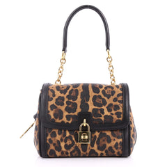 Dolce & Gabbana Miss B Shoulder Bag Printed Coated Canvas Small Brown 3303401
