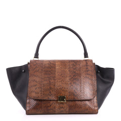 Celine Trapeze Handbag Python Large Brown 3304704