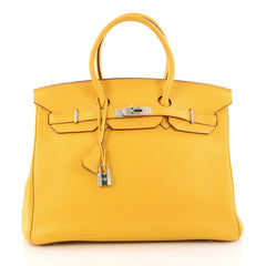 Birkin Handbag Soleil Clemence with Palladium Hardware 35
