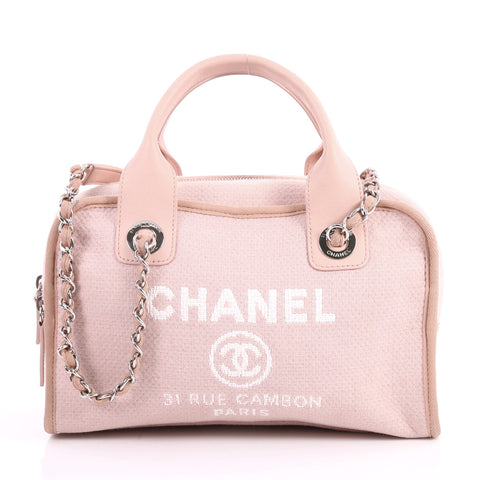 8dd088941aa7 Buy Chanel Deauville Bowling Bag Canvas Small Pink 3307201 – Rebag