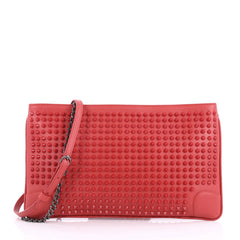 Christian Louboutin Loubiposh Clutch Spiked Leather Red 3308402