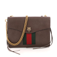 Gucci Animalier Web Chain Shoulder Bag Leather Small Brown 3312001