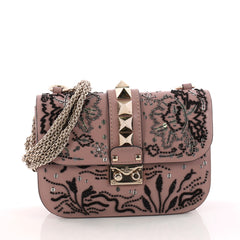Valentino Glam Lock Shoulder Bag Embroidered Leather Small Pink 3312701