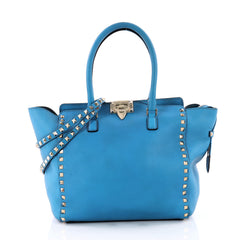 Valentino Rockstud Tote Rigid Leather Medium Blue 3313001