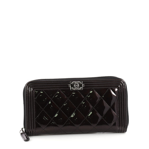50f557f9fb59 Buy Chanel Boy L-Gusset Zip Wallet Quilted Patent Long Black 3316801 – Rebag