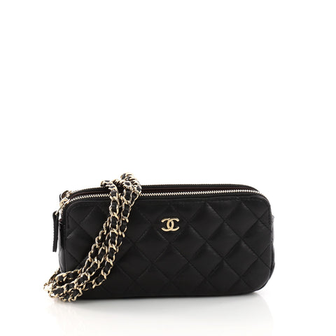 9b4e29cdf5fa7 Buy Chanel Double Zip Chain Clutch Quilted Lambskin Small 3316802 – Rebag