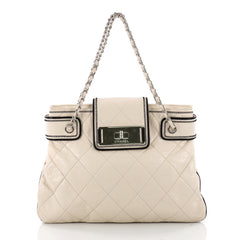 Chanel Mademoiselle Lock Compartment Tote Quilted Leather Medium Neutral 3317501