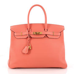 Hermes Birkin Handbag Pink Clemence with Gold Hardware Orange 3318301
