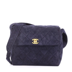 Chanel Vintage Top Handle Flap Bag Quilted Suede Small Blue 3320501