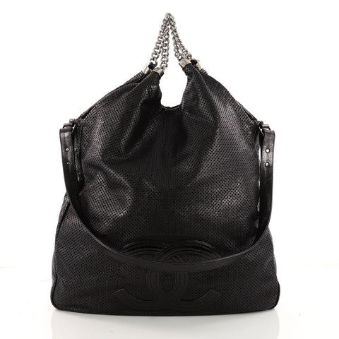 eb510f29406c Buy Chanel Rodeo Drive Hobo Perforated Leather Large Black 3320503 – Rebag