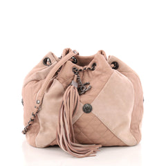 Chanel Patchwork Drawstring Bag Quilted Leather and Suede Small Pink 3320804
