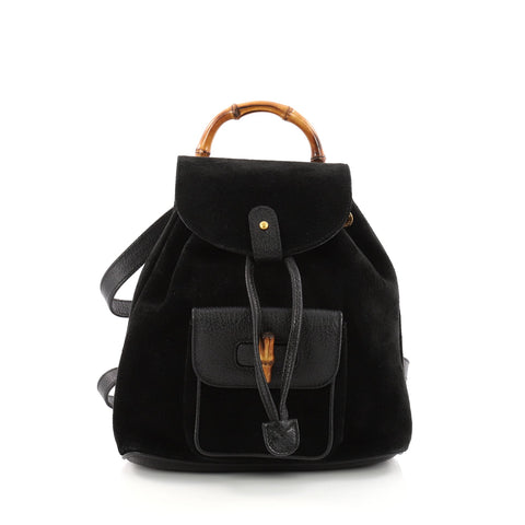 10e927516bf9 Buy Gucci Vintage Bamboo Backpack Suede Mini Black 3321103 – Rebag