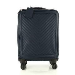 Chanel Coco Case Rolling Trolley Chevron Caviar Blue 3321301
