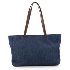 Chanel Vintage CC Logo Tote Denim Large Blue 3325002