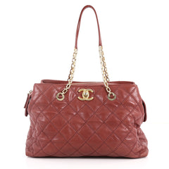 Chanel Retro Chain Zip Satchel Quilted Calfskin Large Red 3328902