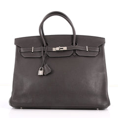 Hermes Birkin Handbag Grey Clemence with Palladium Gray 3329005