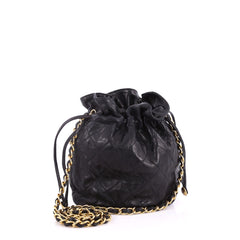 Chanel Vintage Drawstring Bucket Bag Quilted Lambskin Mini Black 3330801