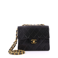 Chanel Vintage Square Classic Single Flap Bag Quilted Lambskin Mini Black 3331401