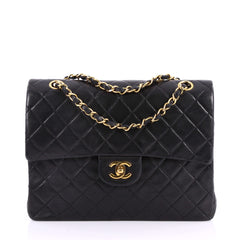 Chanel Vintage Square Classic Flap Bag Quilted Lambskin Small Black 3333401