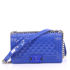Chanel Boy Flap Bag Quilted Patent Old Medium Blue 3336401