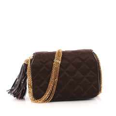 Chanel Vintage Tassel Flap Bag Quilted Satin Small Brown 3338510