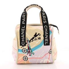 Chanel Eiffel Tower Tote Printed Canvas Large Neutral 3338512
