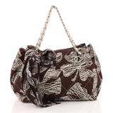 Chanel CC Charm Accordion Tote Quilted Printed Canvas Medium Brown 3339702