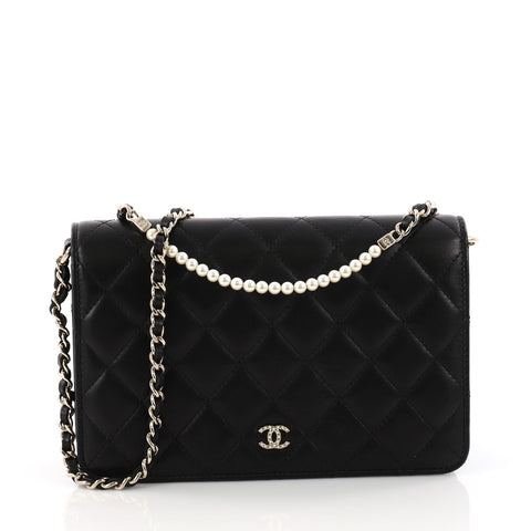 fe901b70e0729d Buy Chanel Pearl Wallet on Chain Quilted Lambskin Black 3341601 – Rebag
