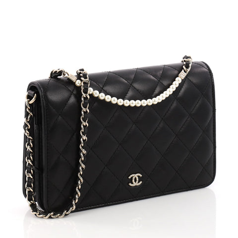 4e3f296c6202 Buy Chanel Pearl Wallet on Chain Quilted Lambskin Black 3341601 – Rebag