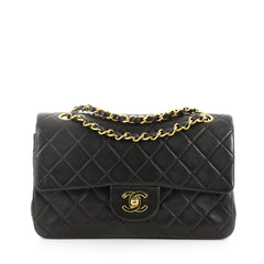 Chanel Vintage Classic Double Flap Bag Quilted Lambskin Small Black 3342201