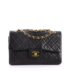 Chanel Vintage Classic Double Flap Bag Quilted Lambskin Small Black 3342202