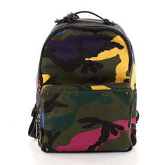 Valentino Camouflage Backpack Nylon and Leather Large Green 3343303