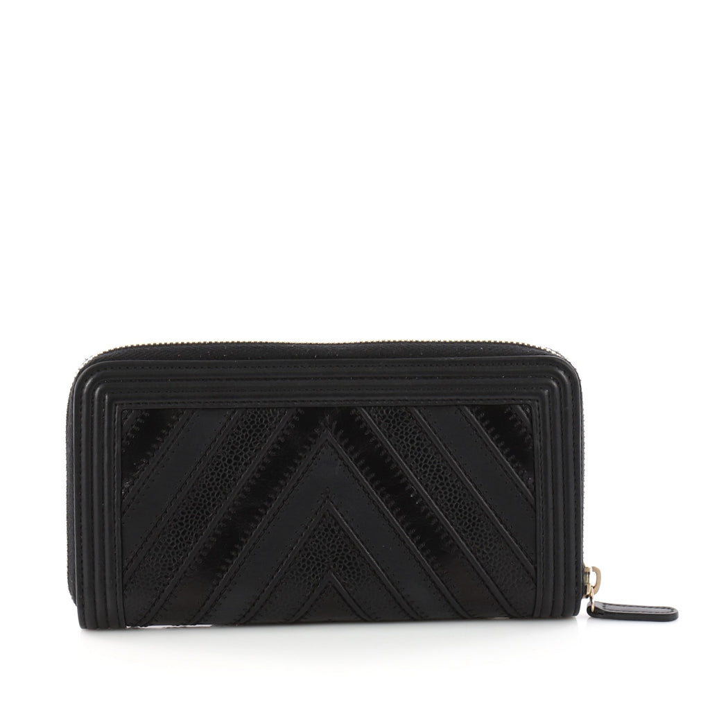 9c1f47504a8c0e Buy Chanel Boy L-Gusset Zip Wallet Chevron Caviar And 3344501 – Rebag