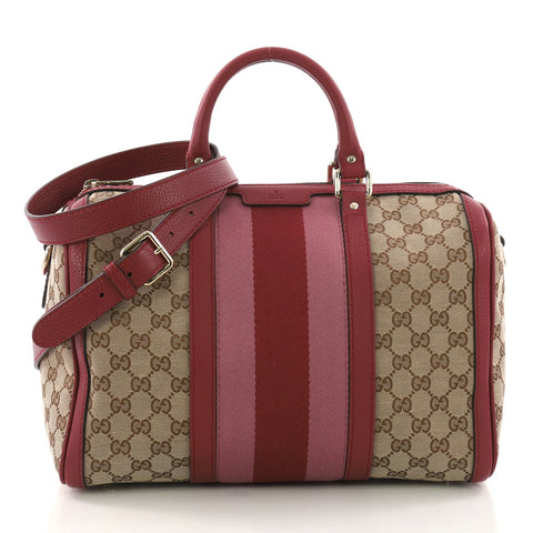 e0ecdb68457 Buy Gucci Vintage Web Boston Bag GG Canvas Medium Red 3346301 – Rebag