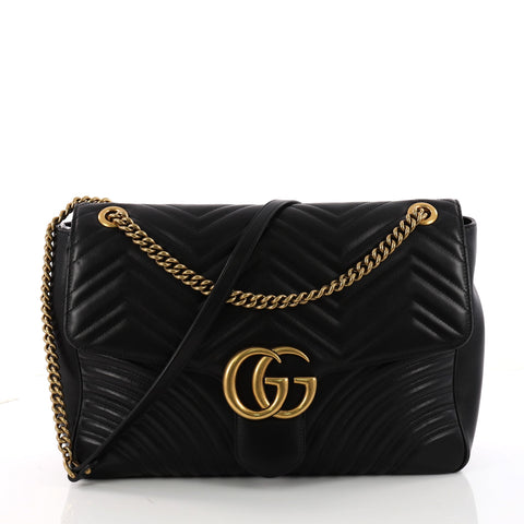 68585fe365a Buy Gucci GG Marmont Flap Bag Matelasse Leather Large Black 3348701 – Rebag