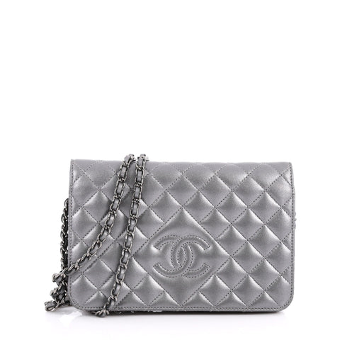 fea43012fa47 Buy Chanel Diamond CC Wallet on Chain Quilted Lambskin Gray 3349303 – Rebag