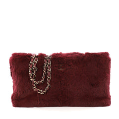 Chanel Vintage CC Chain Tote Fur Medium Red 3350401