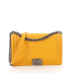Chanel Boy Flap Bag Quilted Lambskin New Medium Yellow 3355101