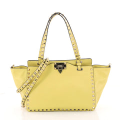 Valentino Rockstud Tote Soft Leather Small Yellow 3357903
