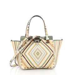 Valentino Rockstud 1975 Tote Striped Leather Mini Neutral 3361801
