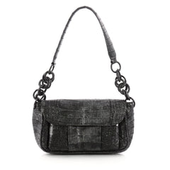 Nancy Gonzalez Flap Shoulder Bag Crocodile Small Black 3362502
