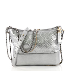 Chanel Gabrielle Hobo Quilted Aged Calfskin Medium Silver 3363401